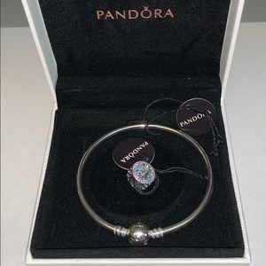 PANDORA Bangle Bracelet & Radiant Hearts Charm